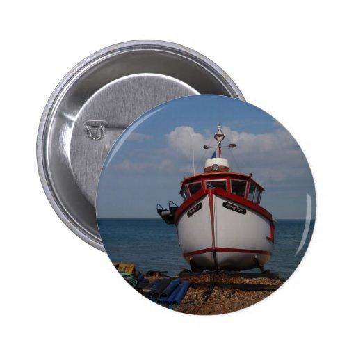 Fishing Boat Morning Haze On Beach Pinback Button