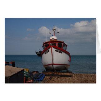 Fishing Boat Morning Haze On Beach Greeting Card