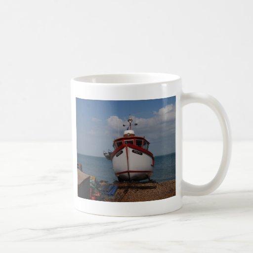 Fishing Boat Morning Haze On Beach Mugs