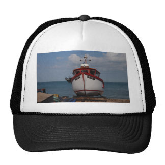 Fishing Boat Morning Haze On Beach Trucker Hat