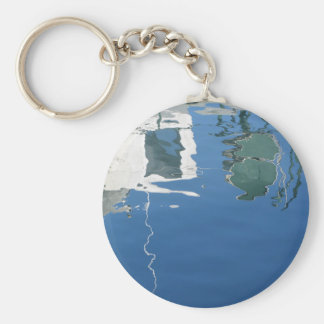 Fishing boat reflects in the water keychain