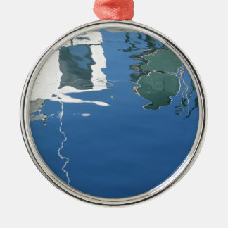 Fishing boat reflects in the water Silver-Colored round ornament