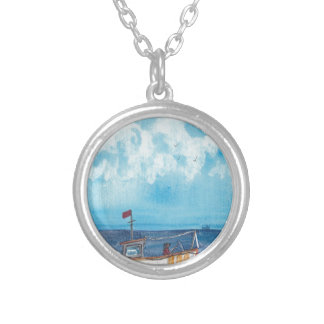 Fishing Boat Silver Plated Necklace