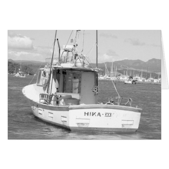 Fishing boat, Whitianga, New Zealand B & W Card
