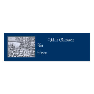 Fishing Boat, Winter Forest, Christmas Gift Tags Mini Business Card