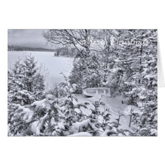 Fishing Boat, Winter Forest, Christmas Snowstorm Card