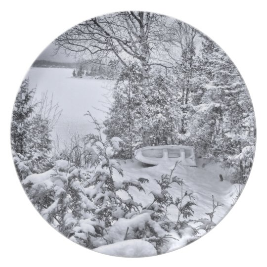 Fishing Boat, Winter Forest, Christmas Snowstorm Plate
