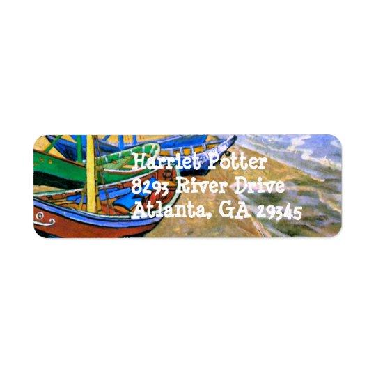 Fishing Boats Beach Saintes-Maries Van Gogh Fine Return Address Label