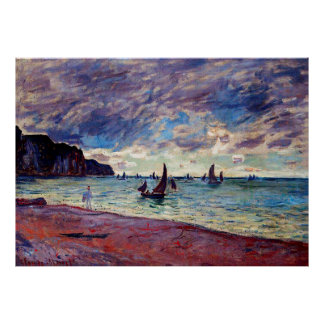 Fishing Boats by the Beach and the Cliffs Poster