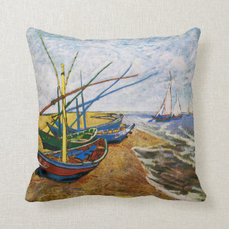 Fishing Boats by Vincent van Gogh Pillow