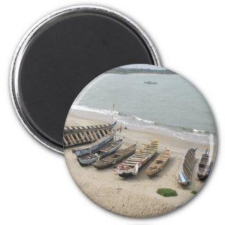 Fishing Boats in Elmina, Ghana 2 Inch Round Magnet