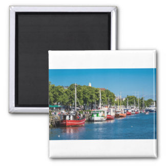 Fishing boats in Warnemuende (Germany) Square Magnet