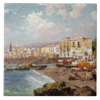 Fishing Boats on the Beach at Marinella, Naples (o Tiles