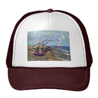 Fishing Boats On The Beach At Saintes-Maries, Fish Mesh Hats
