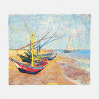 Fishing Boats on the Beach at Saintes-Maries Fleece Blanket