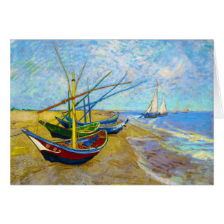 Fishing Boats on the Beach by Vincent Van Gogh Card