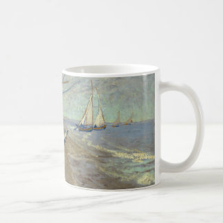 Fishing boats on the beach classic white coffee mug