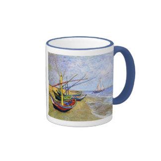Fishing Boats on the Beach, Vincent Van Gogh Coffee Mug