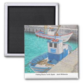 Fishing Boats-Tarifa Spain Square Magnet