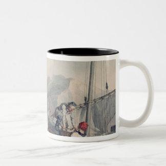 Fishing Boats Unloading Two-Tone Coffee Mug