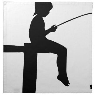 Fishing Boy Silhouette Napkin