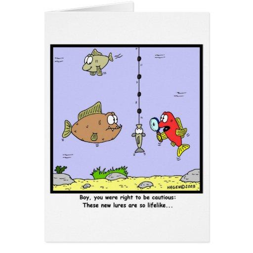 Fishing Cartoon: Lures Greeting Cards