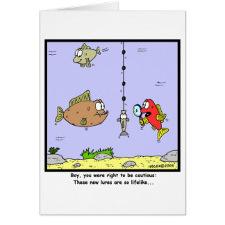 Fishing Cartoon: Lures Greeting Cards