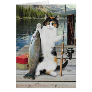 Fishing Cat Card Funny Cute Adorable Best