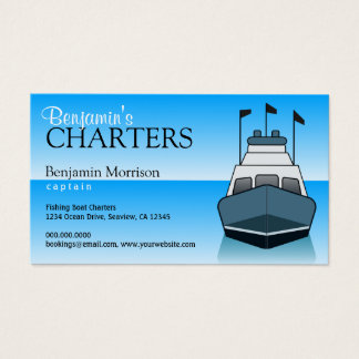 Fishing Charter Service Boat Boating Business Card