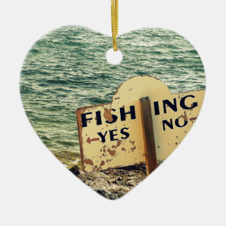 Fishing Choices Ceramic Heart Ornament