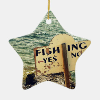 Fishing Choices Ceramic Star Ornament
