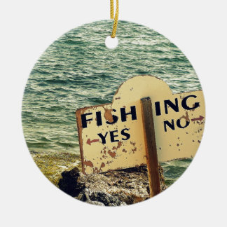 Fishing Choices Round Ceramic Ornament