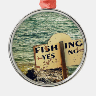 Fishing Choices Silver-Colored Round Ornament