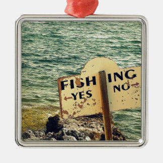Fishing Choices Silver-Colored Square Ornament