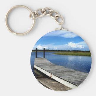 Fishing Dock Photograph Keychain
