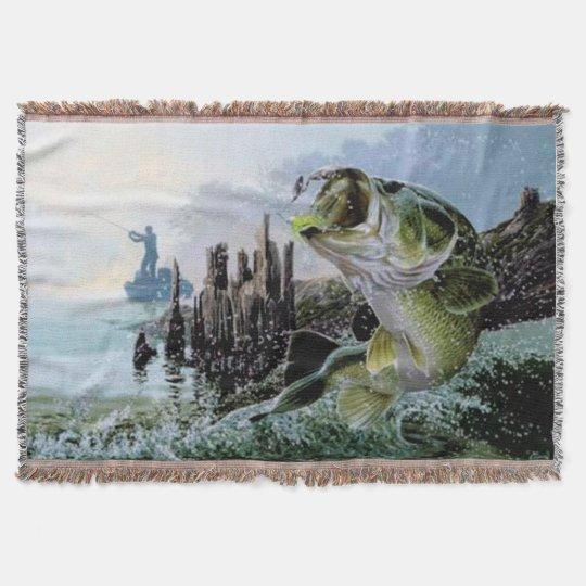 Fishing Fisherman Lake design Blanket Throw