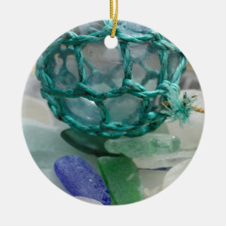 Fishing float on glass, Alaska Ceramic Ornament