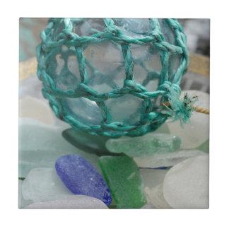 Fishing float on glass, Alaska Ceramic Tiles