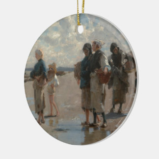 Fishing for Oysters at Cancale - John Sargent Round Ceramic Ornament