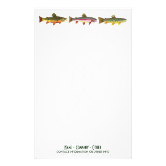 Fishing for Trout Sport Fisherman Angler Stationery