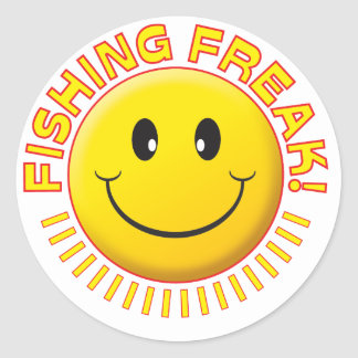 Fishing Freak Smile Classic Round Sticker