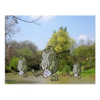 Fishing Frogs Postcard
