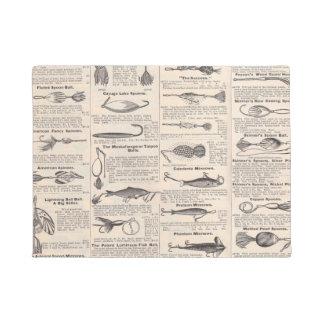 Fishing Gear Newsprint Vintage Advertising Doormat