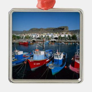 Fishing Harbor, Puerto de Mogan, Gran Canaria, Silver-Colored Square Ornament