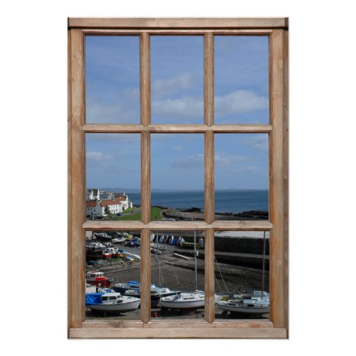 Fishing Harbor View from a Window Posters