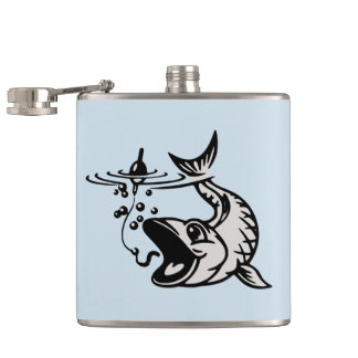 Fishing Hobby Fisherman Gray  Flask