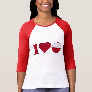 Fishing I Heart Bobber Funny Ladies Raglan Tee Shirt
