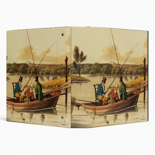 Fishing in a Punt, aquatinted by I. Clark, pub. by 3 Ring Binders