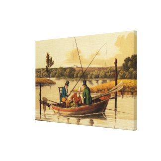 Fishing in a Punt, aquatinted by I. Clark, pub. by Canvas Print