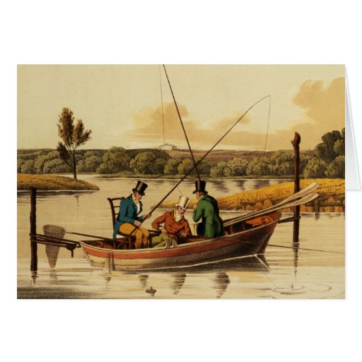 Fishing in a Punt, aquatinted by I. Clark, pub. by Greeting Card
